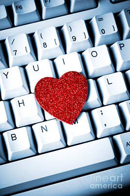 Heart On Keyboard Art Print by Kati Molin