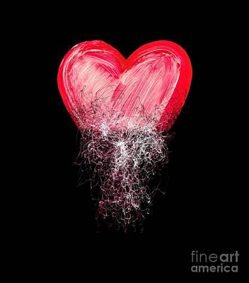 Scribbles Digital Art - Heart Painted From Tangle Of Scribbles by Michal Boubin