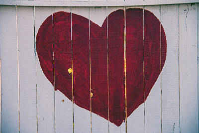 Photograph - Heart Painted On Fence by Garry Gay