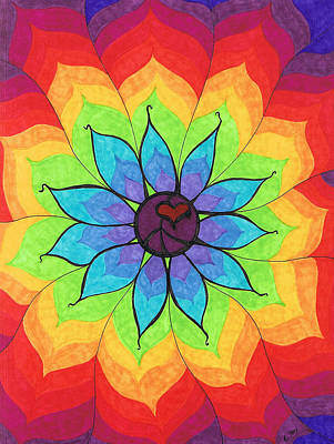 Rainbow Painting - Heart Peace Mandala by Cheryl Fox
