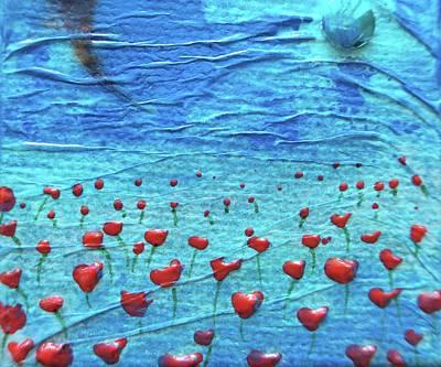 Heart Poppies Art Print