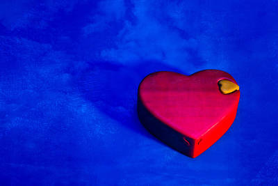 Photograph - Heart Puzzle Box On Blue by Yo Pedro