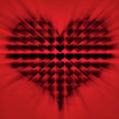 Hearts Digital Art - Heart Rays by Wim Lanclus