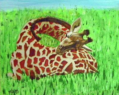 Heart Serenity - Sleeping Baby Giraffe Original by M Gilroy
