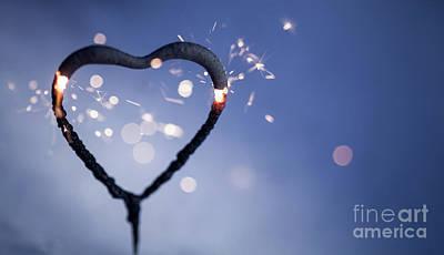 Heart Shape Sparkler Art Print
