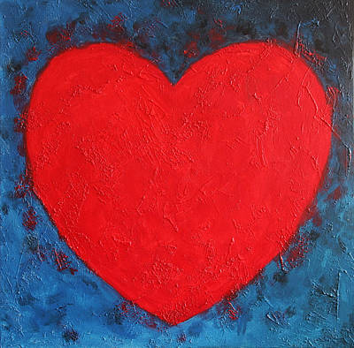 Heart Shape Symbol Bright Red On Blue Abstract Background Valentine Gift Art Print
