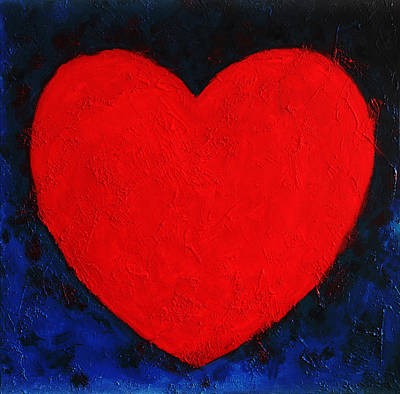 Heart Shape Symbol Simple Clear Briheart Shape Symbol Bright Red On Blue Abstract  Valentin Gift Art Print