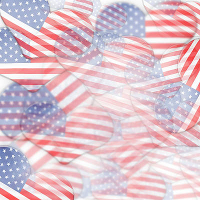 Digital Art - Heart Shape Usa Flags by Les Cunliffe