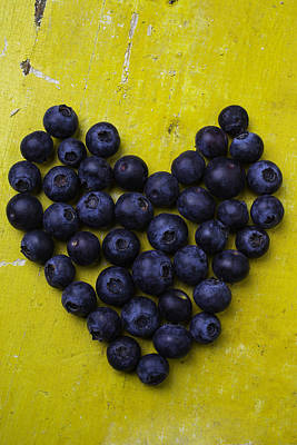 Heart Shaped Blueberries Print by Garry Gay