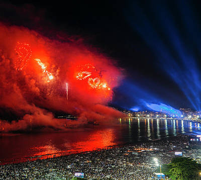 Photograph - Heart-shaped Fireworks On Copacabana Beach At Nye by Alexandre Rotenberg