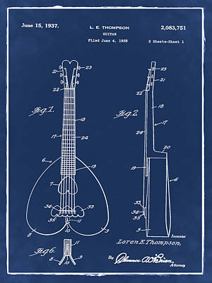 Musical Instrument Photograph - Heart Shaped Guitar Patent 1937 Blue by Bill Cannon