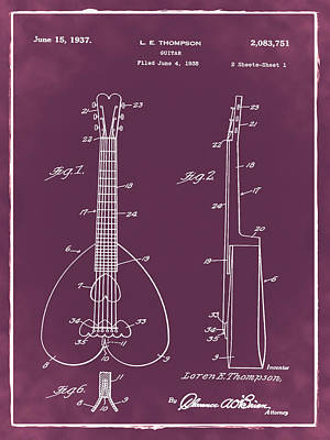 1937 Digital Art - Heart Shaped Guitar Patent 1937 Red by Bill Cannon