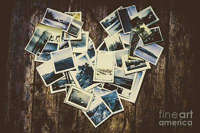 Heart-shaped Instant Photographs On Wooden Background Art Print