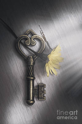 Heart Shaped Key With Yellow Flower Art Print