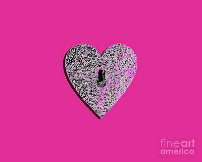 Shower Digital Art - Heart Shaped Lock Pink .png by Al Powell Photography USA