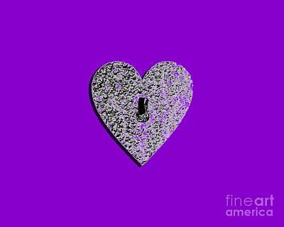 Shower Digital Art - Heart Shaped Lock Purple .png by Al Powell Photography USA