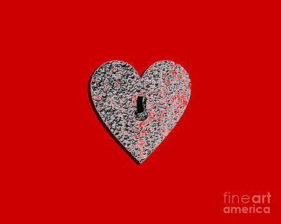 Shower Digital Art - Heart Shaped Lock Red .png by Al Powell Photography USA