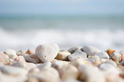 Heart Shaped Pebble On The Beach Art Print