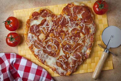 Tomato Photograph - Heart Shaped Pizza by Garry Gay
