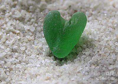 Photograph - Heart Shaped Sea Glass by Janice Drew