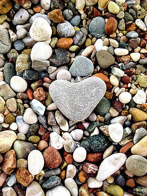 Photograph - Heart-shaped Stone by Helissa Grundemann