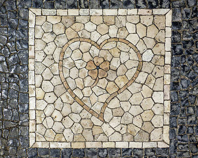 Photograph - Heart Shaped Traditional Portuguese Pavement by Helissa Grundemann