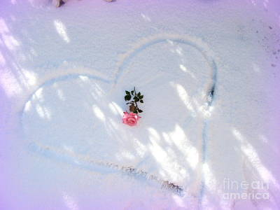 Photograph - Heart Snow Rose Sedona by Marlene Rose Besso