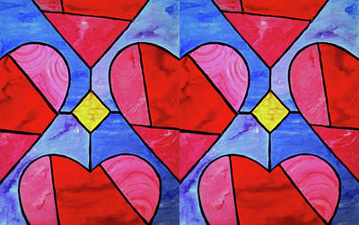 Corazones Painting - Heart Stainglass Painting by Rosemary Vasquez Tuthill