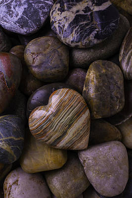 Heart Stone Photograph - Heart Stone On River Rocks by Garry Gay
