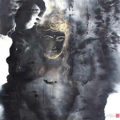 Heart Sutra Wall Art - Painting - Heart Sutra 1-1 Guan Yin Bodhisattva-arttopan Zen Chinese Wash Splash Ink Freehand Brushwork by Artto Pan