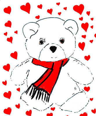 Heart Teddy Art Print by Sonya Chalmers