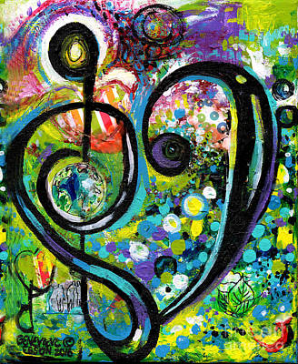 Painting - Heart Treble Clef With Polka Dots by Genevieve Esson