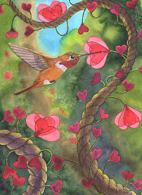 Rufous Hummingbird Painting - Heart Twine by Catherine G McElroy