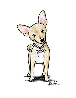 Chihuahua Drawing - Heart Wings Chihuahua by Kim Niles