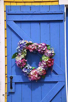 Heart Wreath On Blue Door Art Print by Garry Gay