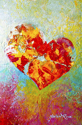 Folkart Painting - Heartfelt I by Marion Rose