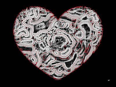 Abstract Hearts Digital Art - Heartline 1 by Will Borden