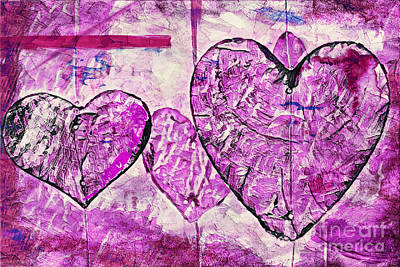 Painting - Hearts Abstract by Lita Kelley