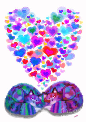 Kitty Digital Art - Hearts And Cats 2 by Nick Gustafson