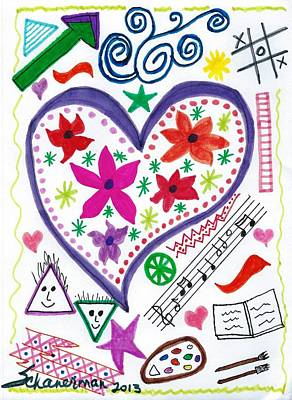 Uplifting Drawing - Hearts And Flowers by Susan Schanerman