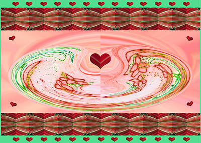 Abstract Rose Oval Digital Art - Hearts And Flowers With Borders by Marian Bell