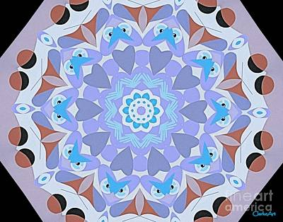 Concentration Digital Art - Hearts And Owls Mandala by Jean Clarke
