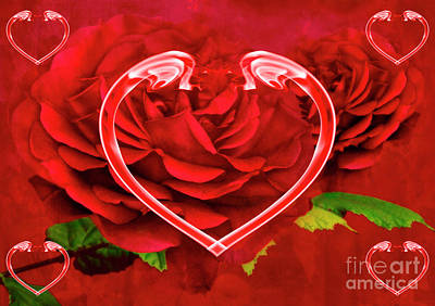 Hearts And Roses Print by Steve Purnell