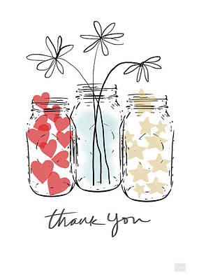 Hearts And Stars Thank You- Art By Linda Woods Art Print by Linda Woods