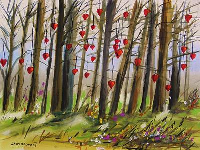 Hearts On Trees Painting - Hearts At Dusk by John Williams