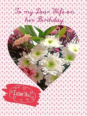 Mixed Media - Hearts Birthday Greeting by Joan-Violet Stretch