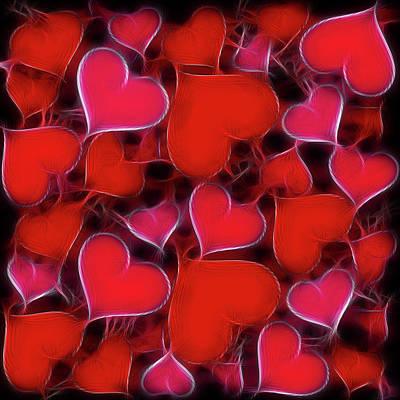 Wall Art - Digital Art - Hearts Collage by David G Paul