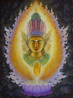 Painting - Heart's Fire Buddha by Sue Halstenberg