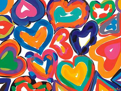 Multi-coloured Painting - Hearts In Motion by Sarah Gillard
