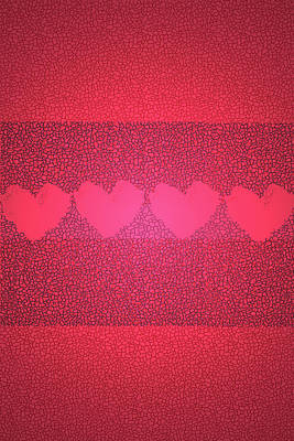 Hearts In Red Art Print